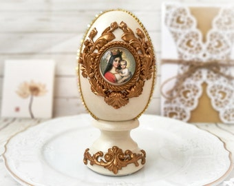 Vintage easter eggs with icon is great religious gifts unique shabby chic easter decorations for basket or antique white spring decor.