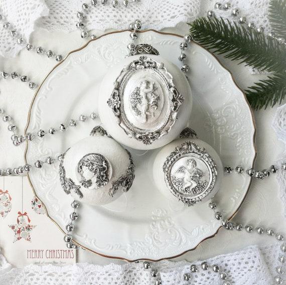 Vintage Christmas Ornaments, unique antique christmas Gift, shabby chic decor