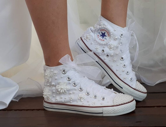 Sneakers da sposa - Converse da sposa personalizzato - Scarpe da sposa per perle - Scarpe da sposa per sposa - Sneaker Converse