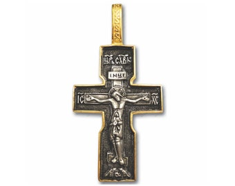 Crucifix Pendant Handmade DOUBLE GILDED Silver Stainless steel chain and Luxury Gift Box incl. Two Sides with Jesus Christ /& Prayer