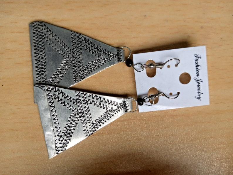 Aluminum earrings Hammered earrings Brasswire earrings Maasai earrings Beaded earrings Kenyan earrings Gift for her Easter gift