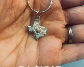 Texas Copper Heart Charm and Sterling Silver Necklace