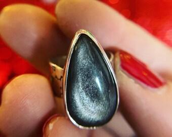 Silver Sheen Obsidian Ring