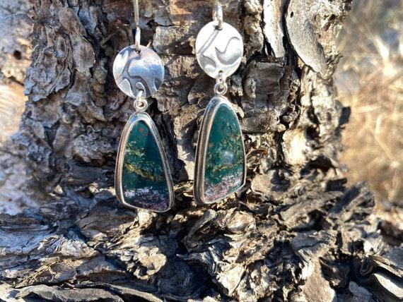 Bloodstone dangle earrings