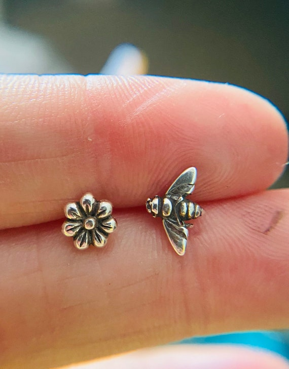 Bee Flower mismatched studs