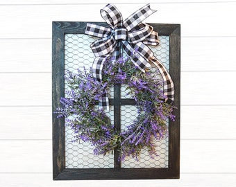 Farmhouse Chicken Wire Window with Mini Lavender Wreath and Buffalo Check Bow, Gallery Wall Decor, Country Kitchen Wall Hanging,