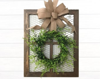 Chicken Wire Frame with Boxwood Wreath, Farmhouse Kitchen Decoration, Gallery Wall Hanging