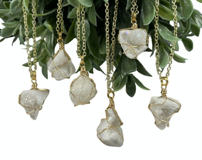White Druzy Crystal Necklace, Druzy Crystal, Druzy, Gold Necklace, Necklace, Handmade, Crystal Necklace, Crystal Jewelry, Gifts for Her,Gold