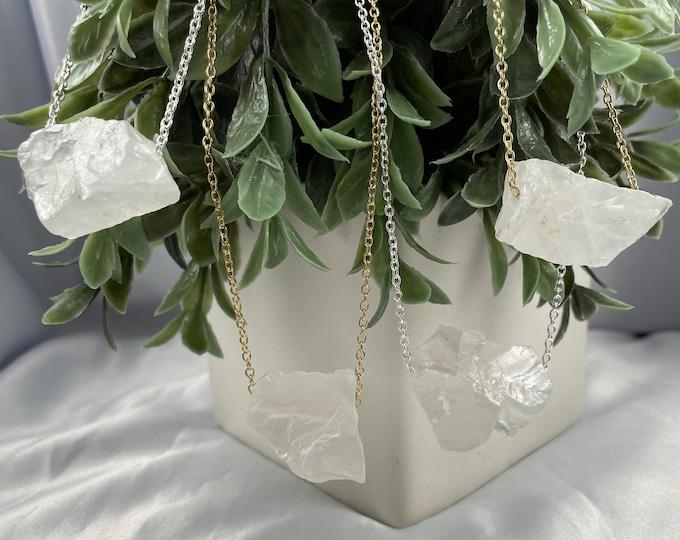 Chunky Clear Quartz Crystal Chain Necklace