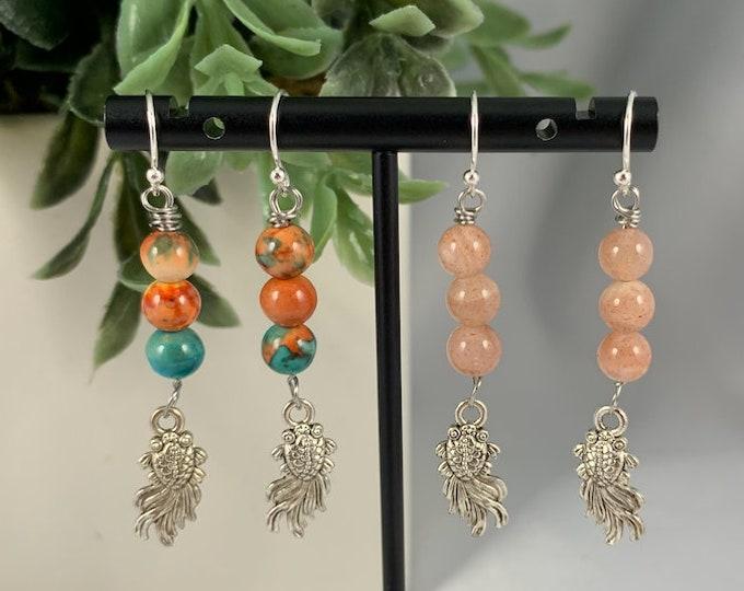 Goldfish Crystal Bead Dangle Earrings