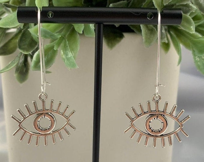 Eyes on You Silver Dangle Earrings