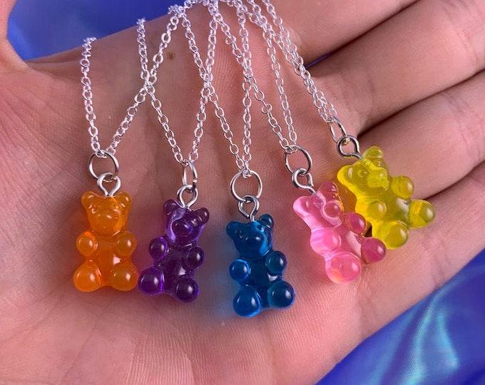 Assorted Resin Gummy Bear Pendant Necklace