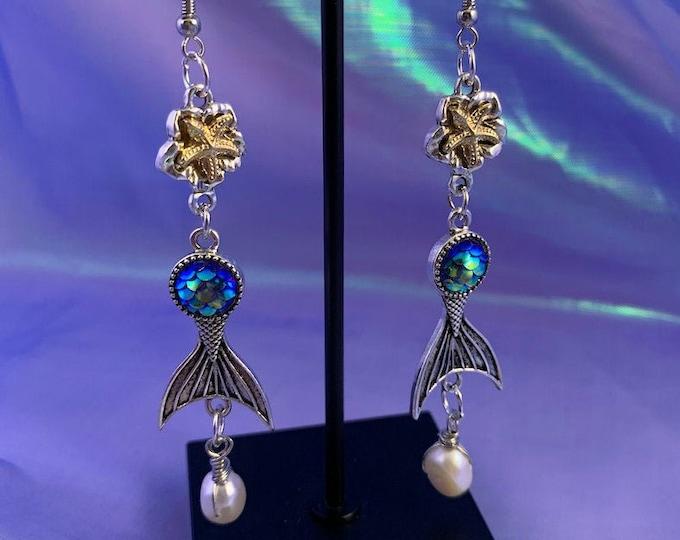 Freshwater Pearl & Mermaid Tail Earrings