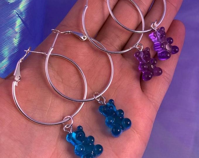 Blue & Purple Gummy Bear Silver Hoops