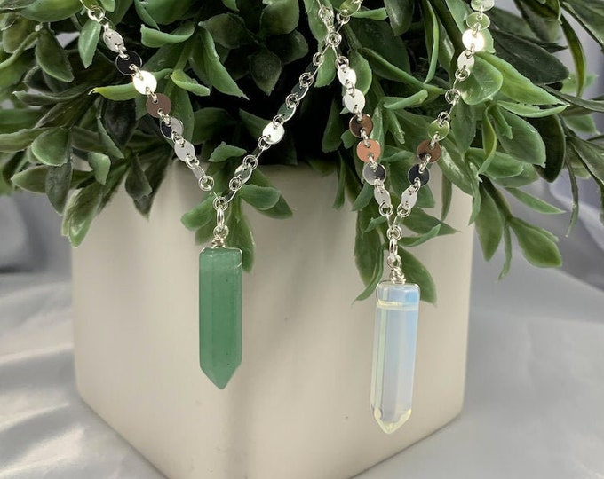 Green Aventurine or Opalite Crystal Point Necklace