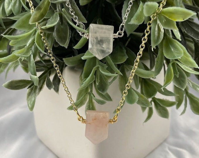 Rose Quartz Crystal Pendant Necklace, Rose Quartz, Rose Quartz Jewelry, Handmade Jewelry, Crystal Necklace, Layering Necklace, Gifts for Her