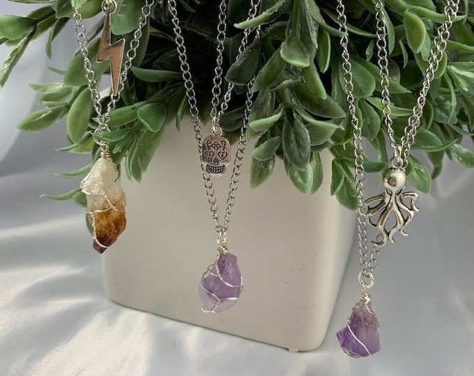 Assorted Charm & Crystal Multi-Strand Necklace