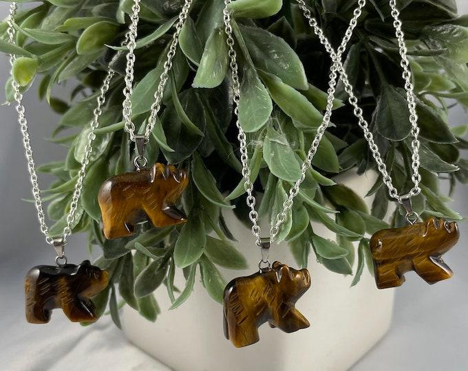 Tigers Eye Crystal Bear Necklace