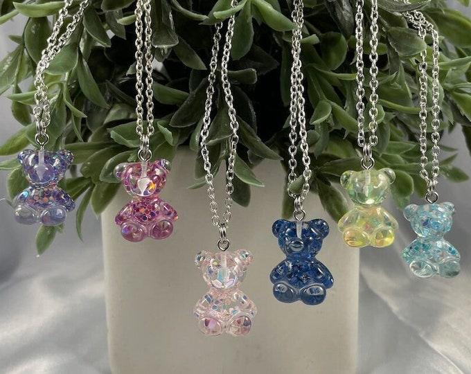 Teddy Bear Glitter Necklaces