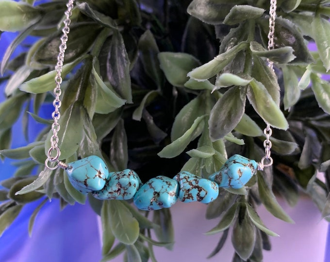 Turquoise Howlite Stone Silver Necklace