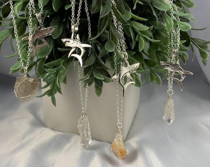 Shark & Crystal Multi-Strand Necklace