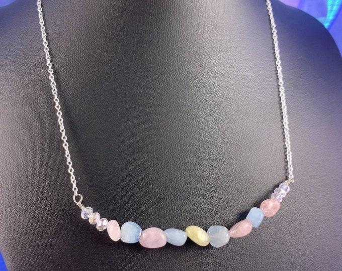 Morganite Stone Silver Chain Necklace