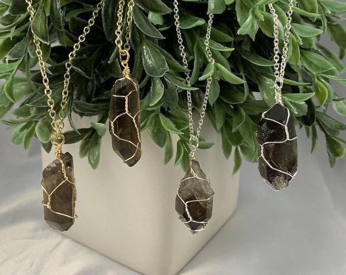 Smokey Quartz Crystal Necklace