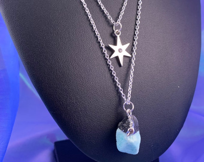Raw Amazonite Stone & Star Layered Necklace