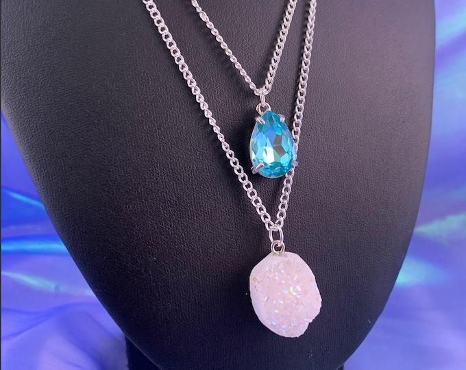 White Druzy Stone & Blue Crystal Multi-Strand Necklace