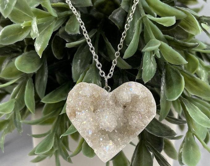 Druzy Crystal Heart Pendant Necklace