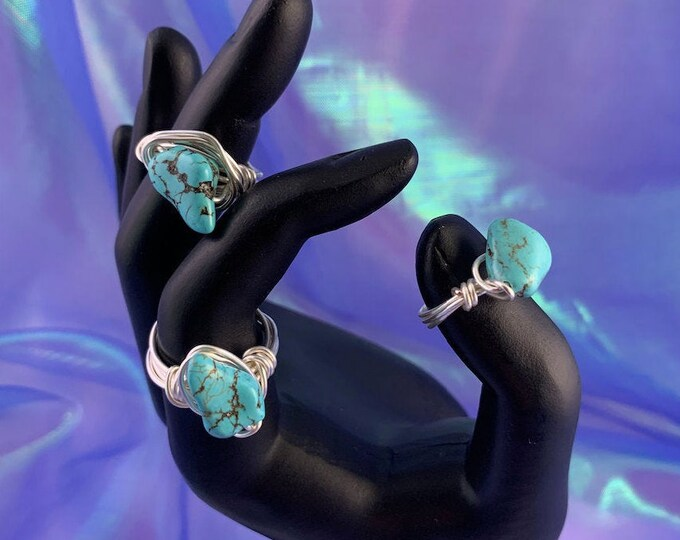 Turquoise Howlite Stone Wire-Wrapped Ring