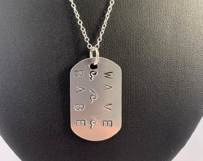 WAVE BABE Dog Tag Monogram Silver Necklace