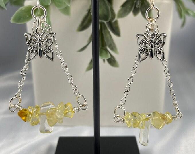 Citrine Crystal Butterfly Dangle Earrings