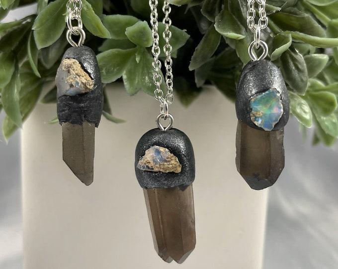 Smokey Quartz & Welo Opal Crystal Necklace
