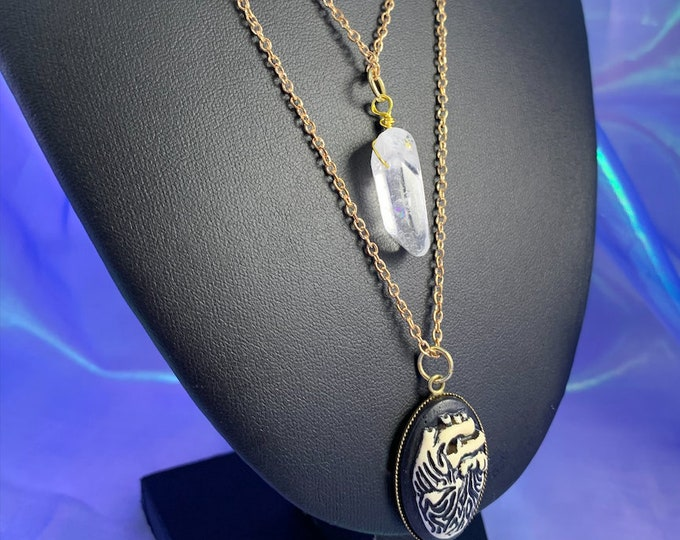 Crystal Quartz & Anatomical Heart Pendant Multi-Strand Necklace