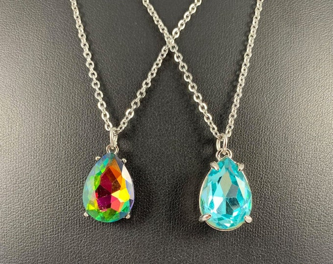 Blue & Multi-Colored Crystal Necklace
