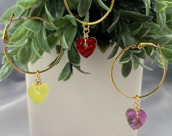 Glitter Heart Gold Hoop Earrings