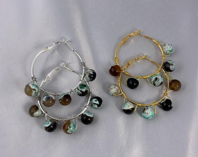 Ocean Agate Stone Silver or Gold Hoop Earrings