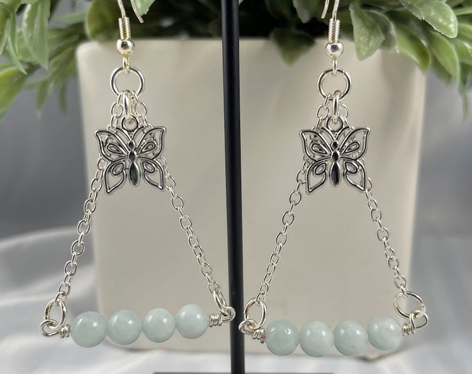 Aquamarine Crystal Butterfly Dangle Earrings