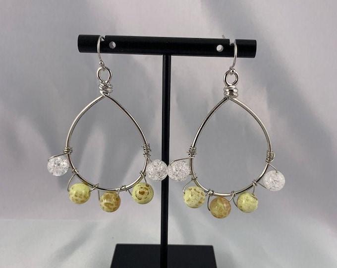 Yellow Fire Agate Stone & Glass Crackle Bead Dangle Earrings