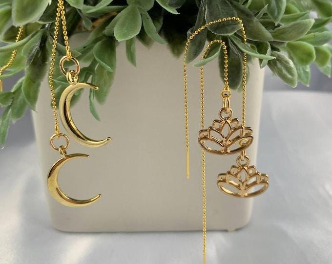 Lotus or Moon Gold Threader Earrings