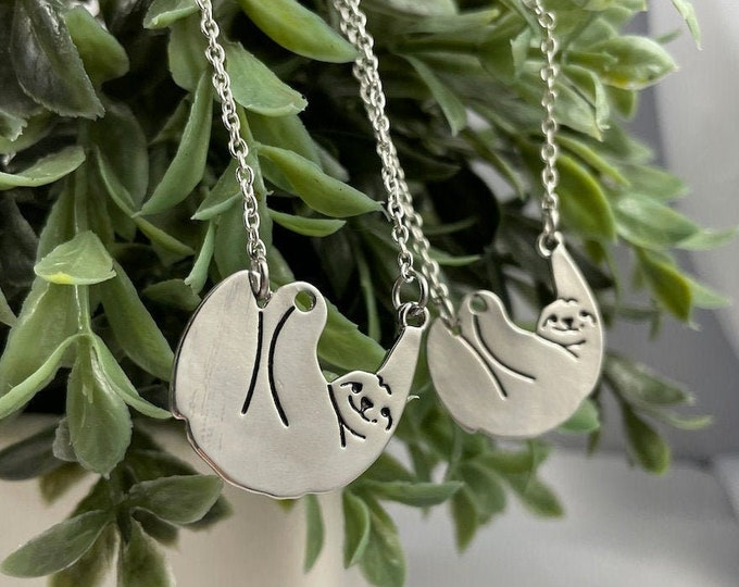 Hanging Sloth Silver Necklace