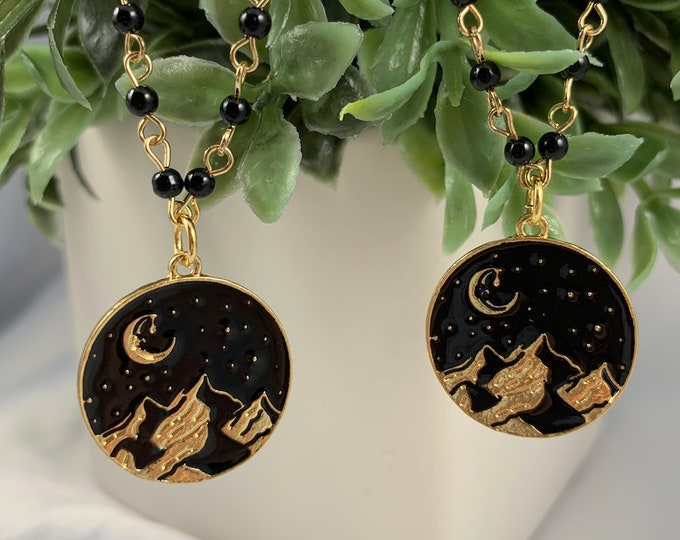 Moon & Mountains Gold Pendant Necklace
