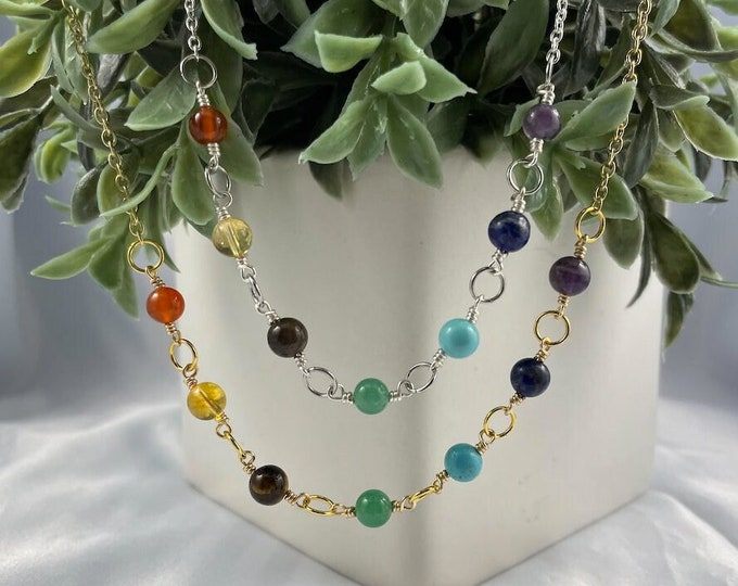 Rainbow Crystal Bead Necklace, Crystal Necklace, Layering Necklaces, Handmade, Gifts for her, Presents for her, Amethyst, Agate, Citrine