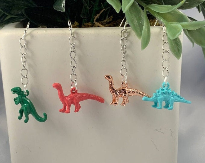 Colorful Dinosaur Chain Earrings