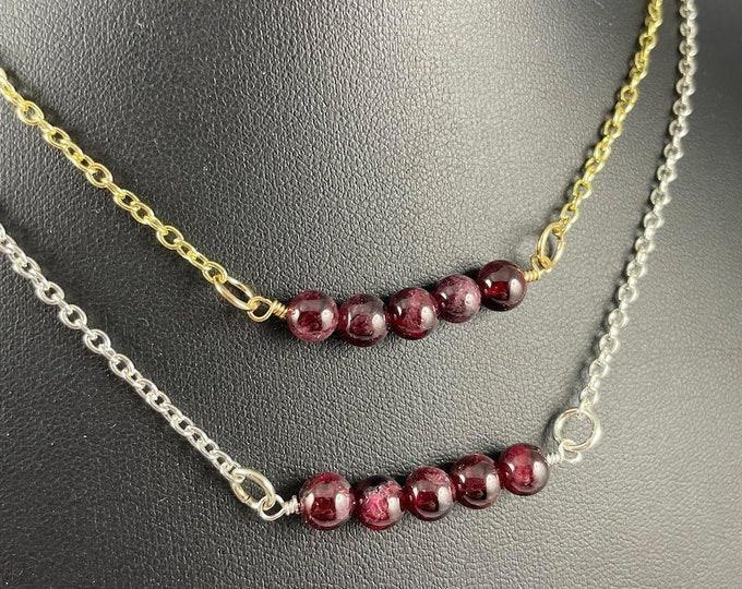 Red Garnet Crystal Necklace