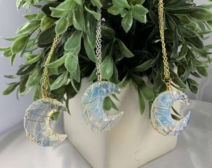 Opalite Crystal Moon Necklace