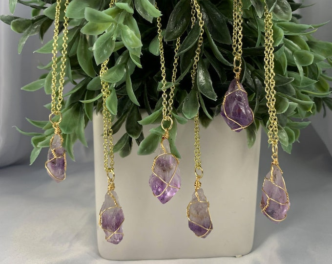 Amethyst Crystal Point Gold Necklace