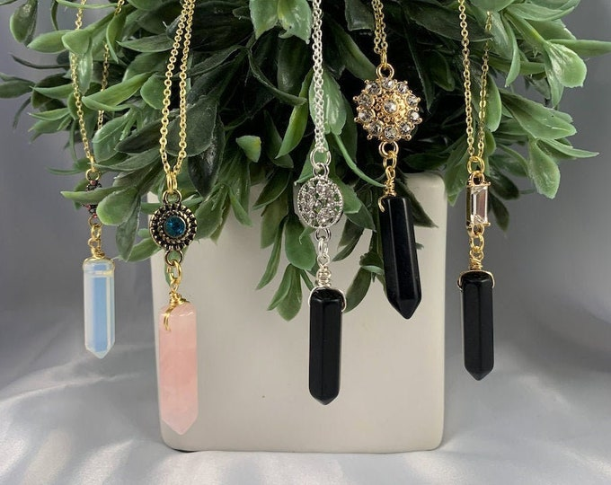 Crystal Healing Point with Charm Necklace