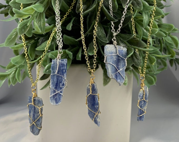 Blue Kyanite Blade Crystal Necklace